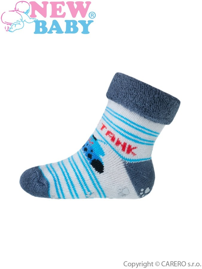 Dojčenské froté ponožky New Baby s ABS sivé s tankom