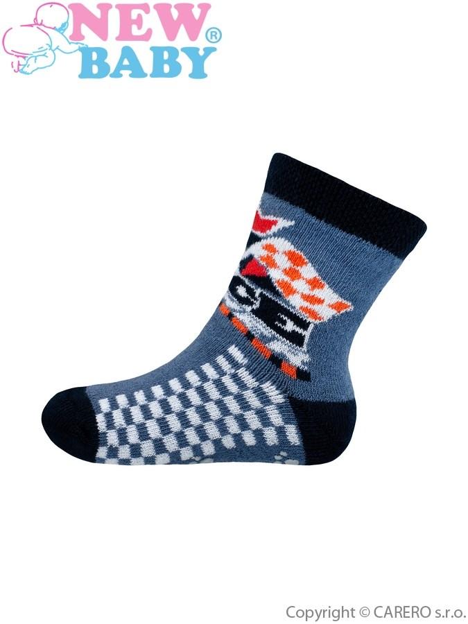 Dojčenské froté ponožky New Baby s ABS tmavo modré race