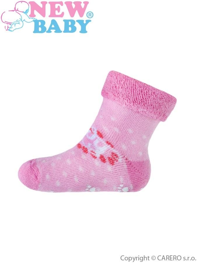 Dojčenské froté ponožky New Baby s ABS ružové so srdiečkom Lady
