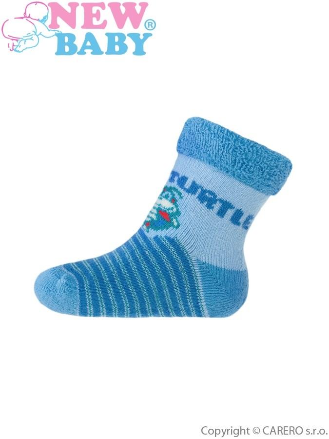 Detské froté ponožky New Baby modré SUPER TURTLE