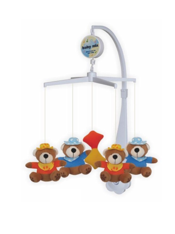 Kolotoč nad postieľku Baby Mix medvedíkovia s čiapočkami