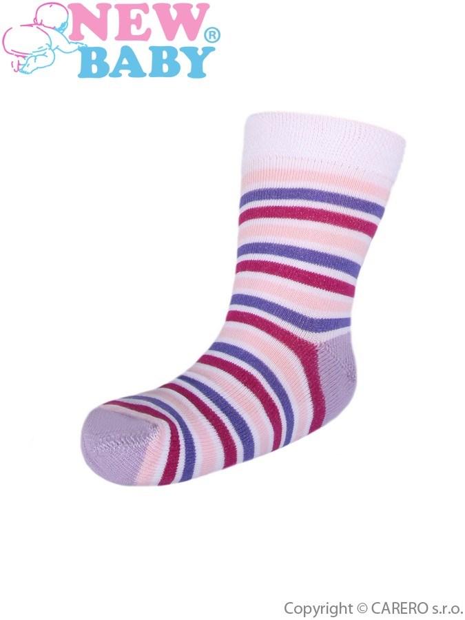 Detské pruhované ponožky New Baby ružovo-biele