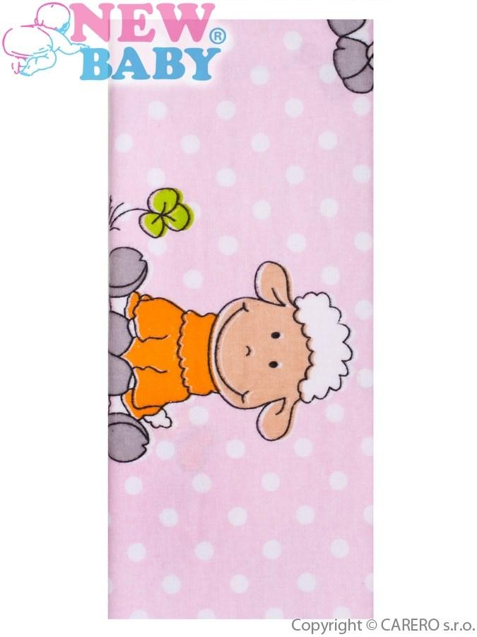 Flanelová plienka s potlačou New Baby ružová s ovečkou