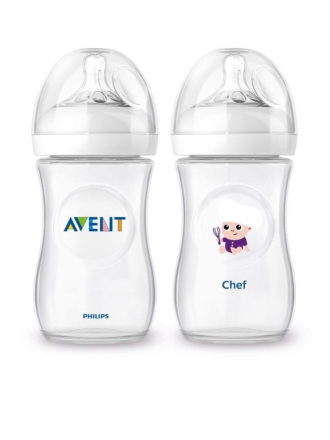 Dojčenská fľaša Avent Natural + fľaša Čím budem Chef 260ml