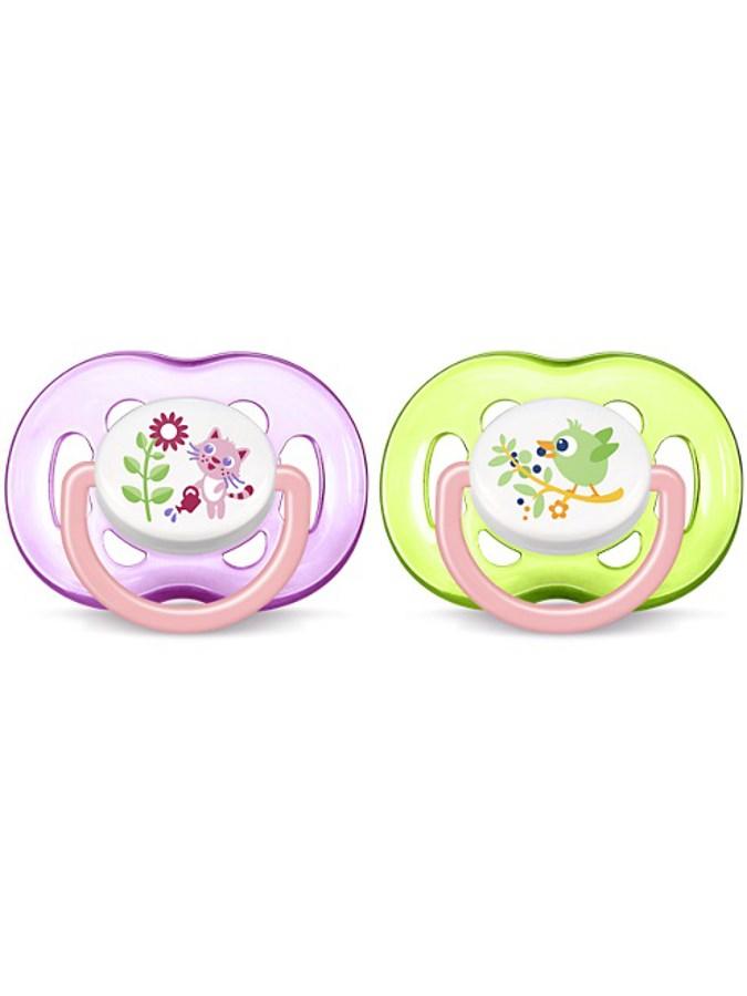 Dojčenský cumlík Avent 18 mesiacov a viac-2ks ružovo-zelený