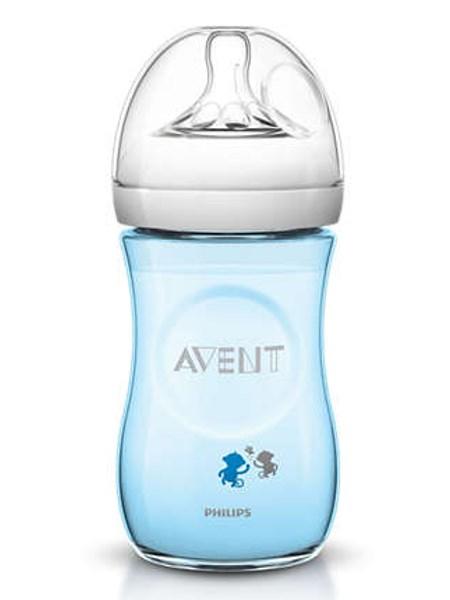 Dojčenská fľaša Avent Natural s opičkami 260 ml modrá