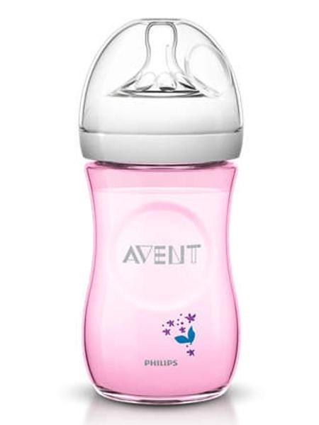 Dojčenská fľaša Avent Natural s kvetinkami 260 ml ružová