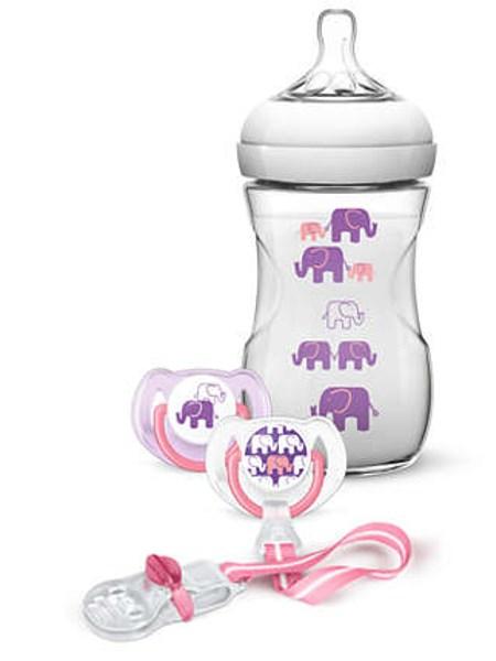 Dojčenská sada Avent Natural  transparentná 260 ml dievčatá