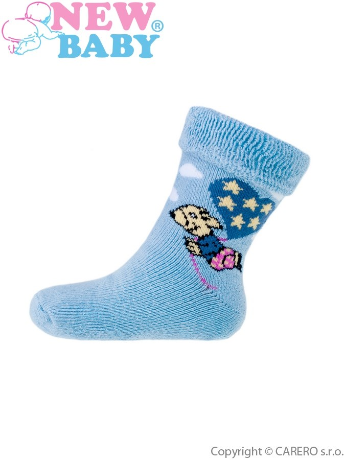 Detské froté ponožky New Baby modré s myškou