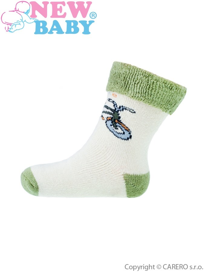 Detské froté ponožky New Baby zelené s kolesom