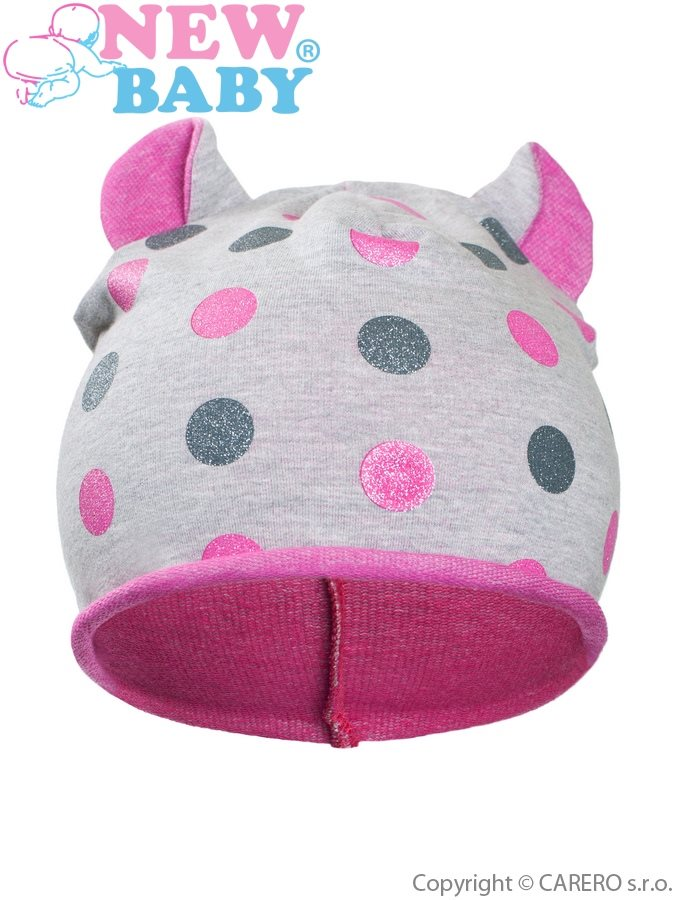 Jesenná detská čiapočka New Baby bodky sivo-ružová