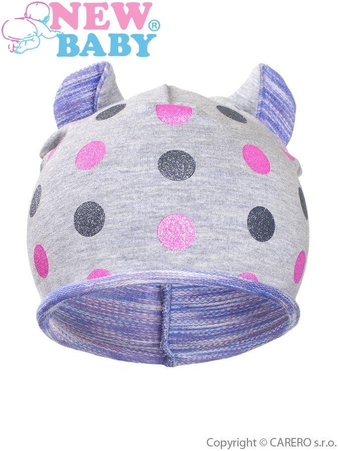 Jesenná detská čiapočka New Baby bodky sivo-fialová