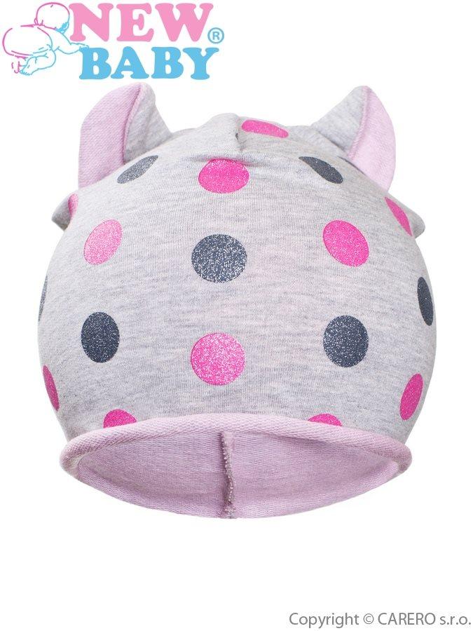 Jesenná detská čiapočka New Baby bodky sivo-bledo ružová