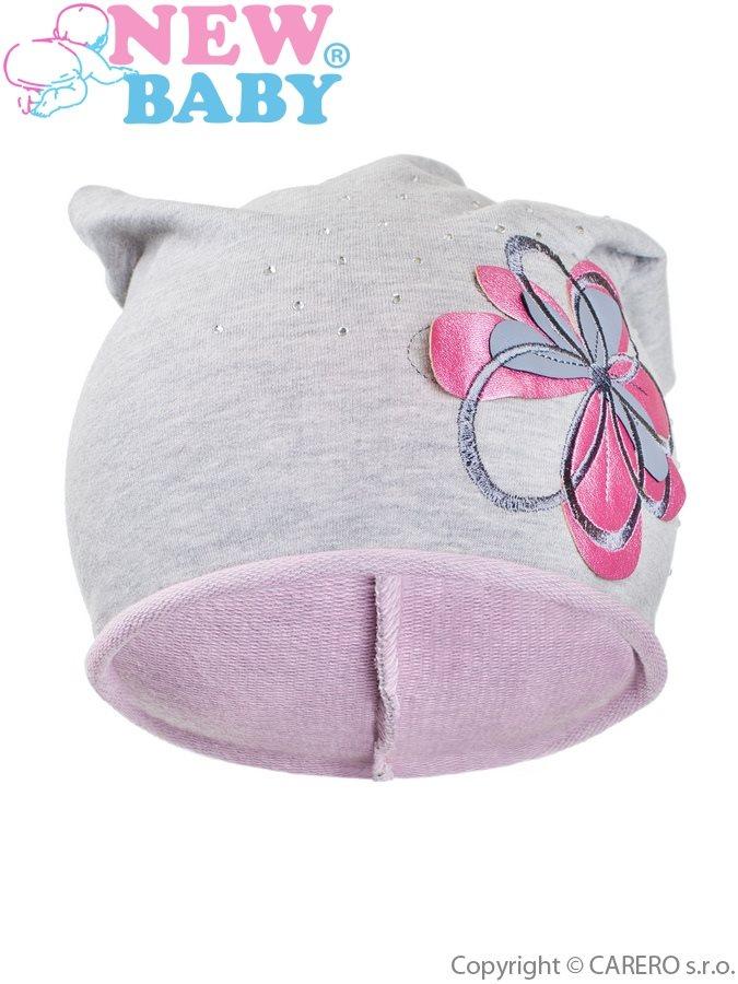 Jesenná detská čiapočka New Baby kvetinka bledo ružová