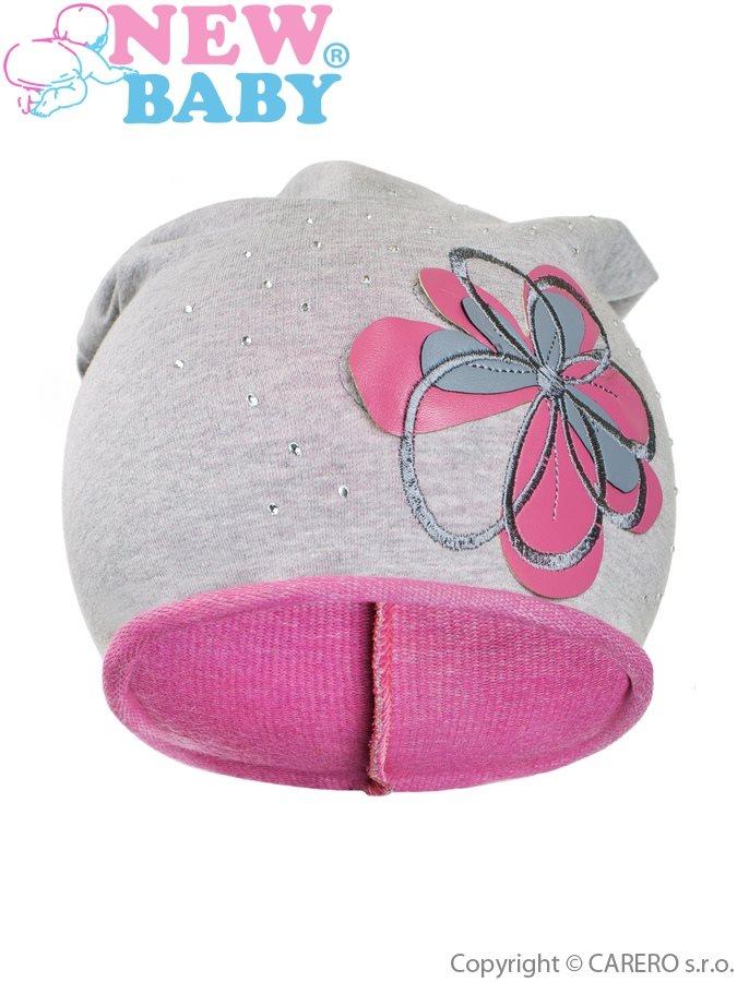 Jesenná detská čiapočka New Baby kvetinka ružová