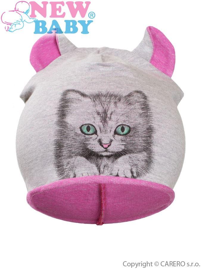Jesenná detská čiapočka New Baby mačička ružová