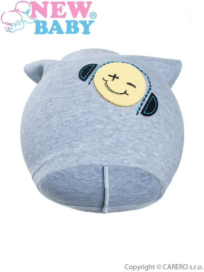 Jesenná detská čiapočka New Baby smajlík sivá
