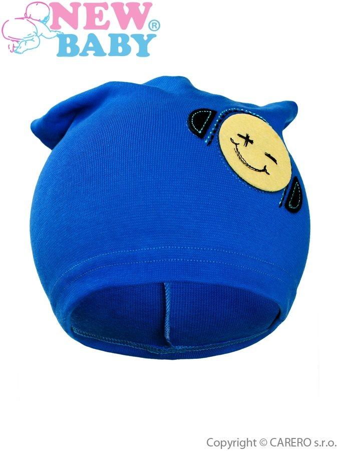 Jesenná detská čiapočka New Baby smajlík modrá