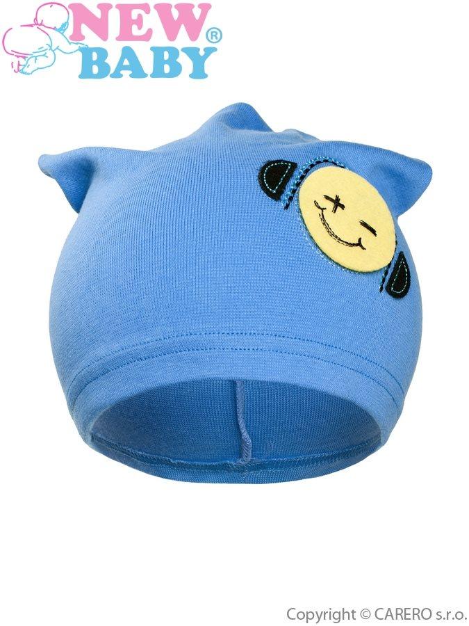 Jesenná detská čiapočka New Baby smajlík bledo modrá