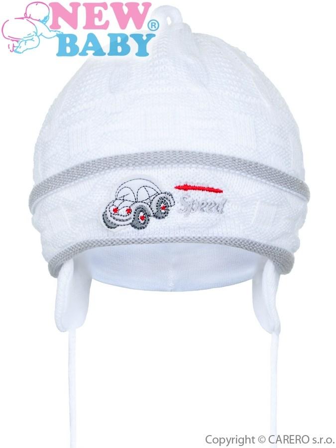 Pletená detská čiapočka New Baby Speed bielo-sivá