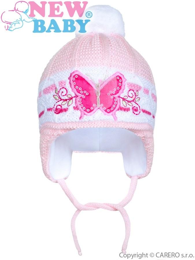 Zimná detská čiapočka New Baby motýlik bledo ružová