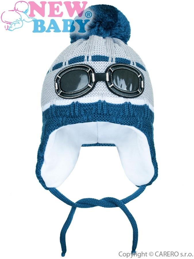 Zimná detská čiapočka New Baby okuliarky sivá