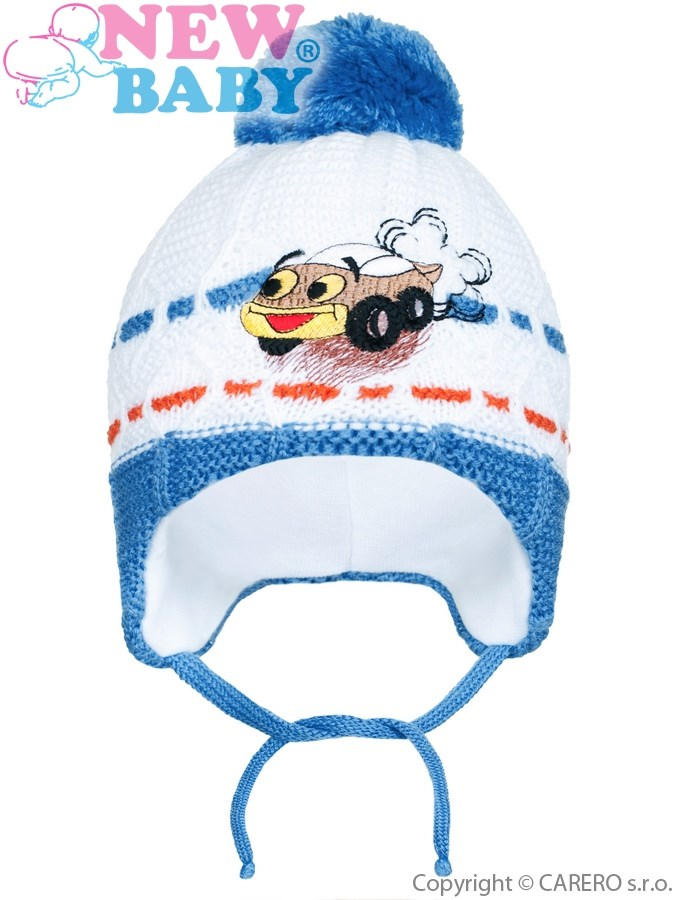 Zimná detská čiapočka New Baby auto tmavo modrá