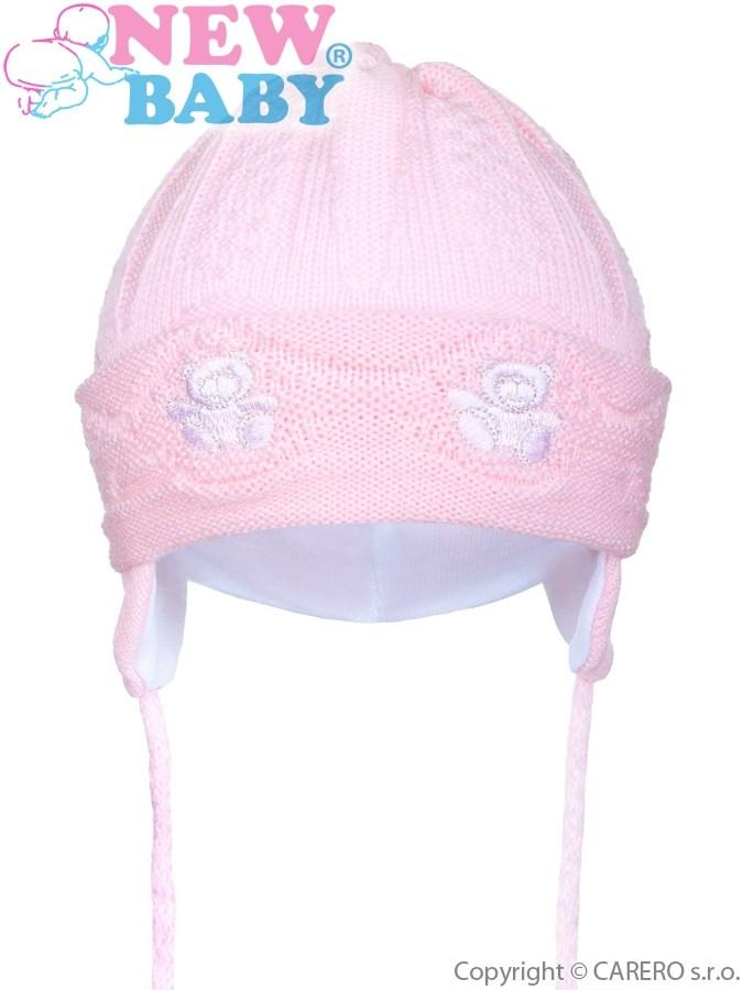 Pletená detská čiapočka New Baby medvedíkovia ružová