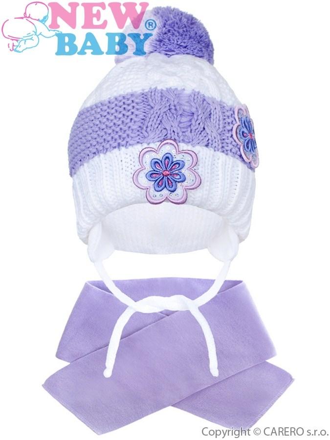 Zimná detská čiapočka so šálom New Baby kvietočky fialová