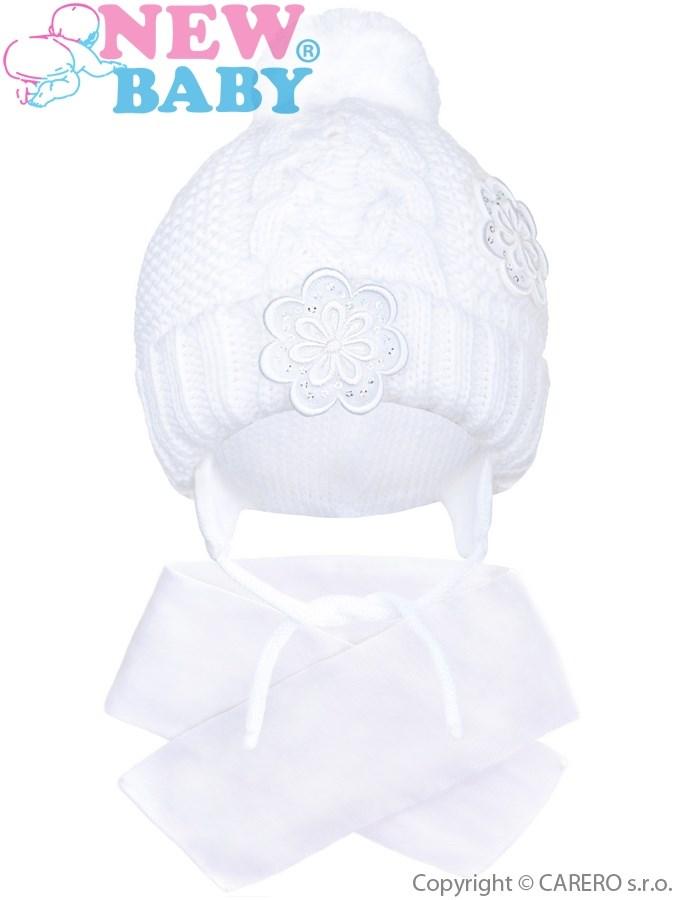 Zimná detská čiapočka so šálom New Baby kvietočky biela