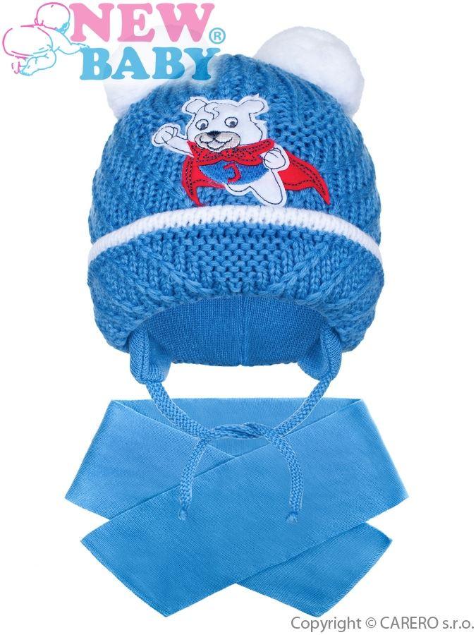 Zimná detská čiapočka so šálom New Baby medvedík J tmavo modrá
