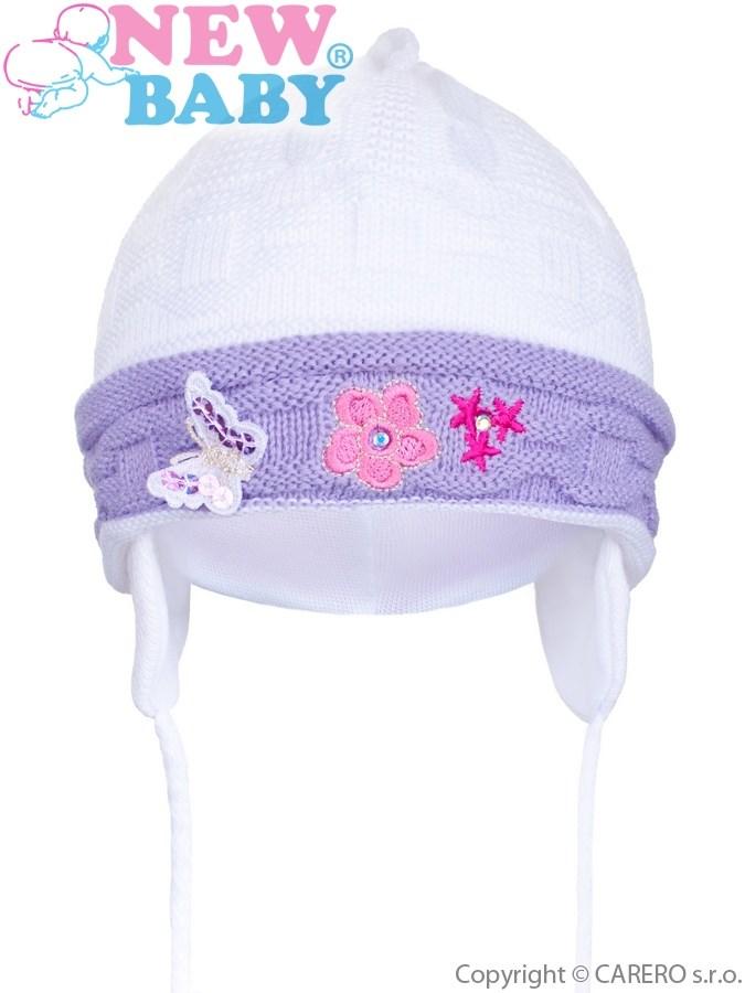 Pletená detská čiapočka New Baby bielo-fialová