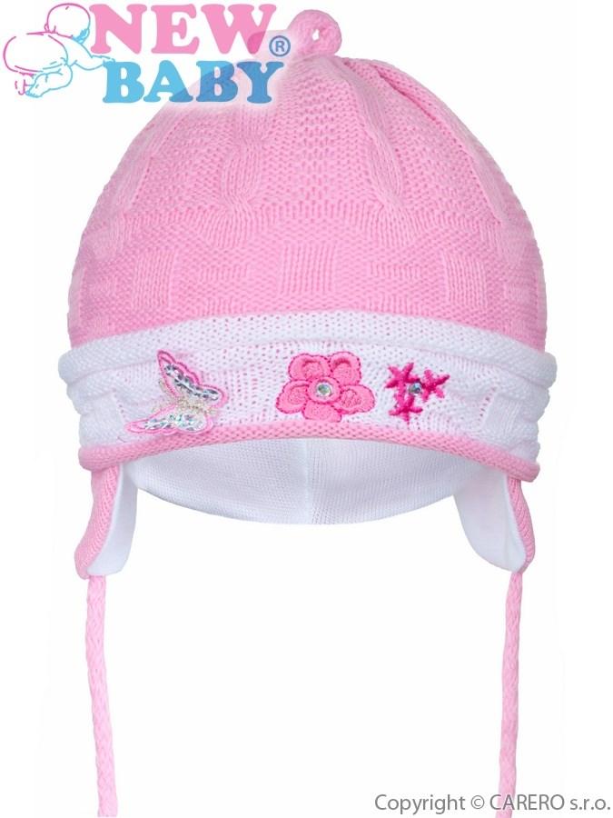 Pletená detská čiapočka New Baby tmavo ružová