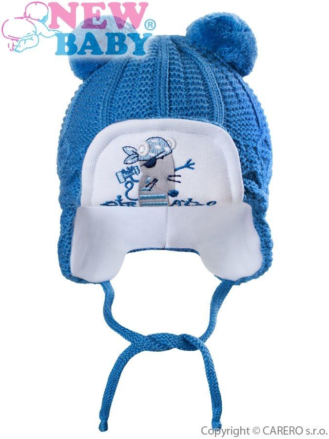Zimná detská čiapočka New Baby myška pirát tmavo modrá