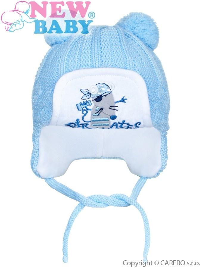 Zimná detská čiapočka New Baby myška pirát bledo modrá