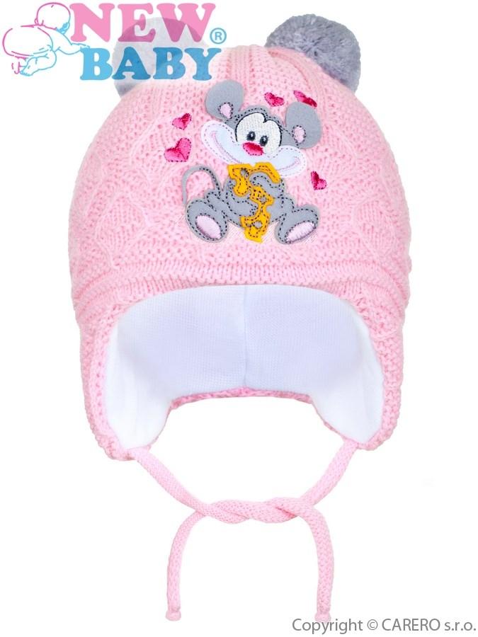 Zimná detská čiapočka New Baby myška bledo ružová