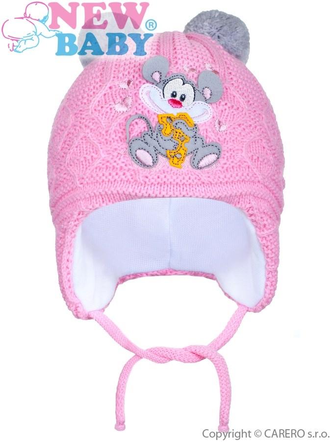 Zimná detská čiapočka New Baby myška tmavo ružová