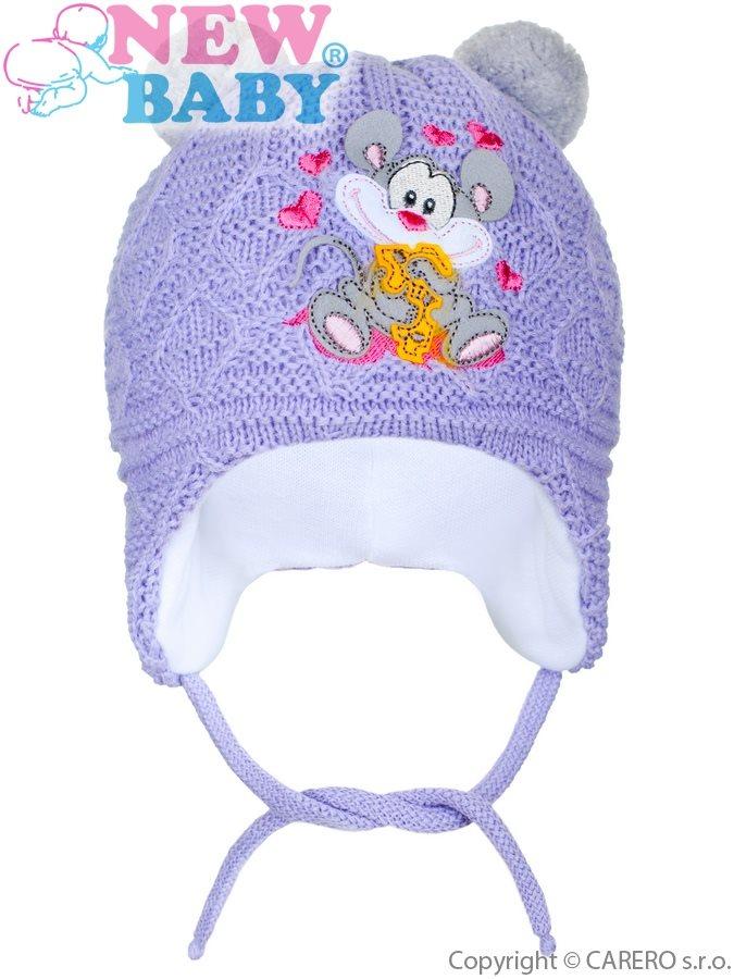 Zimná detská čiapočka New Baby myška fialová