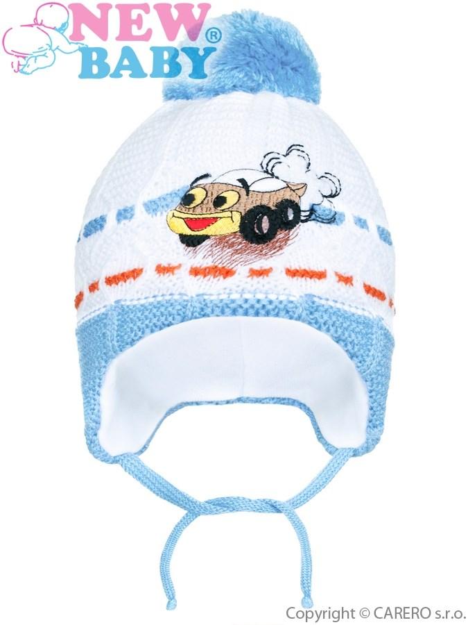 Zimná detská čiapočka New Baby auto bledo modrá