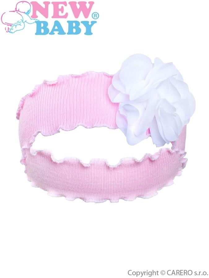 Detská čelenka New Baby s kvietočkom svetlo ružová