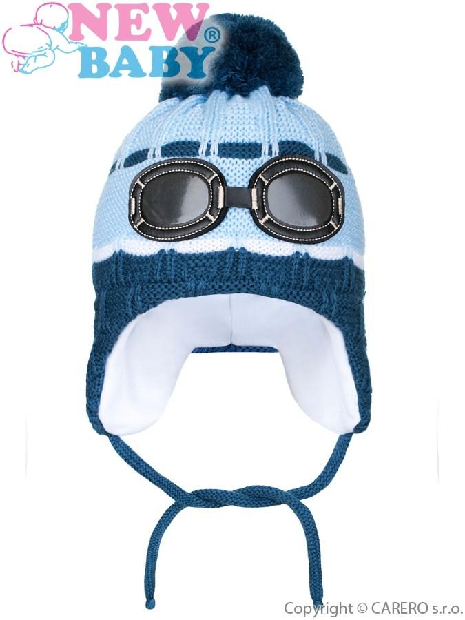 Zimná detská čiapočka New Baby okuliarky svetlo modrá