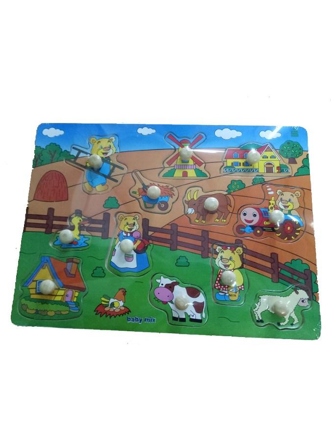 Detské drevené puzzle s úchytkami Baby Mix Farma