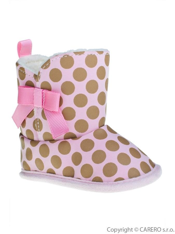 Detské zimné topánočky Bobo Baby ružové s bodkami