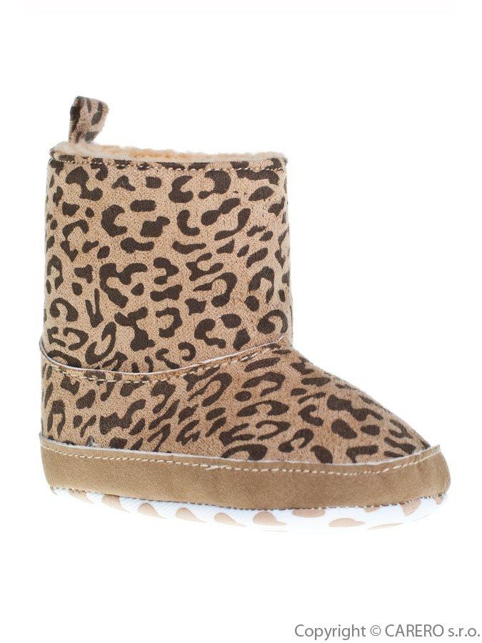 Detské zimné topánočky Bobo Baby hnedé so vzorom