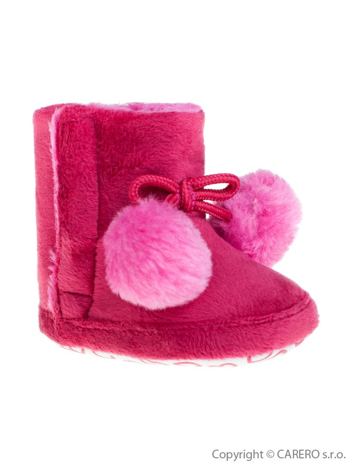 Detské zimné topánočky Bobo Baby ružové s brmbolcami