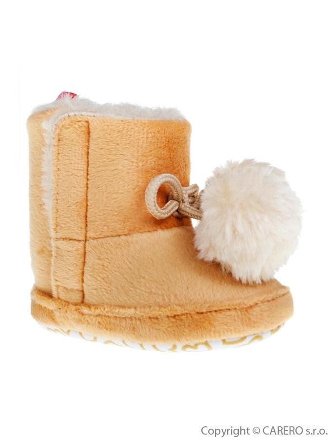 Detské zimné topánočky Bobo Baby béžové s brmbolcami