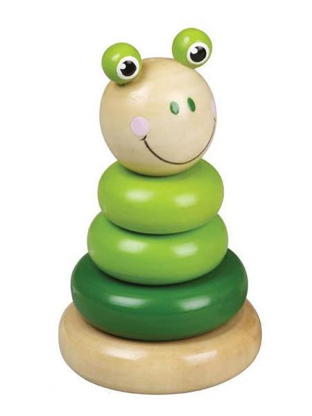 Drevená hračka Baby Mix - veža 18+ žaba
