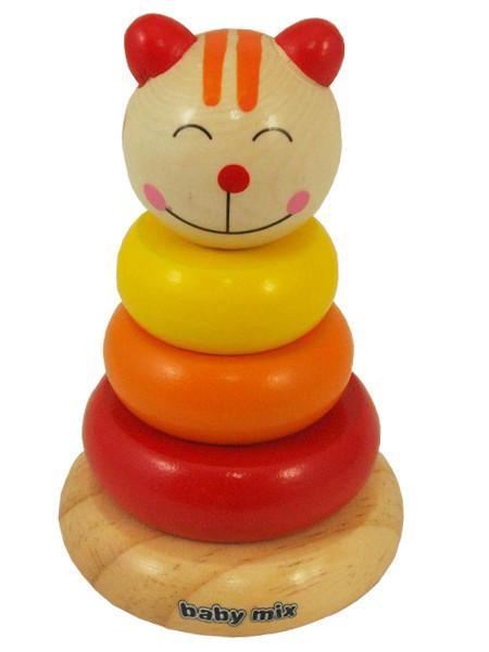 Drevená hračka Baby Mix - veža 18+ mačička