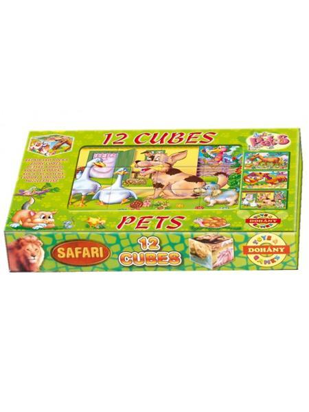 Skladacie obrázkové kocky 12 ks maznáčikovia