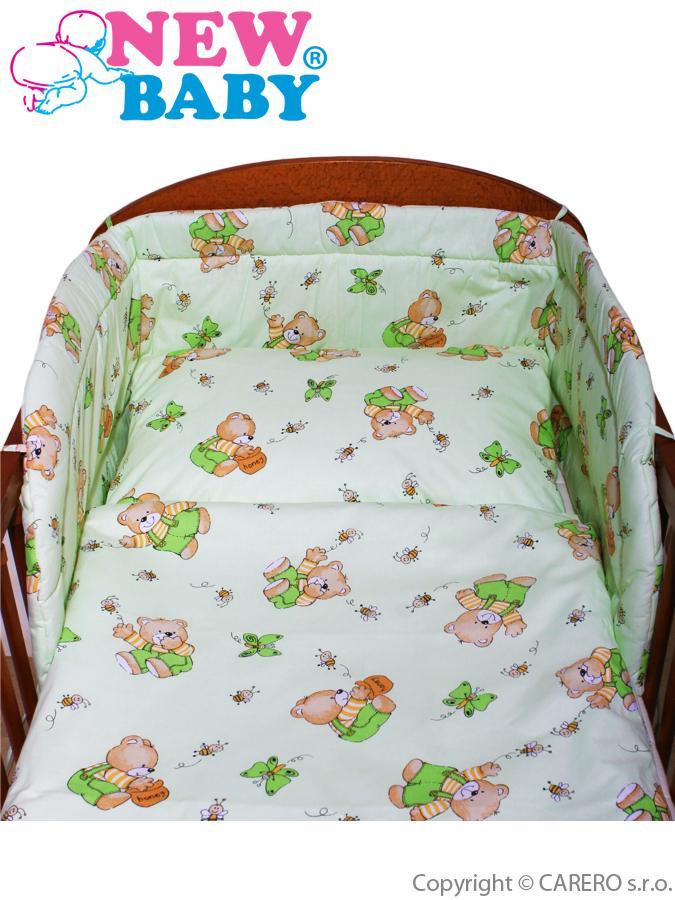 <p>3-dielne posteľné obliečky New Baby 90/120 cm zelené s medvedíkom</p>